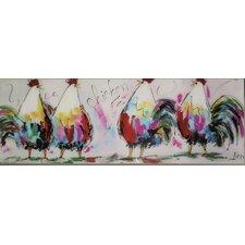 Glasbild Chicken Grafikdruck