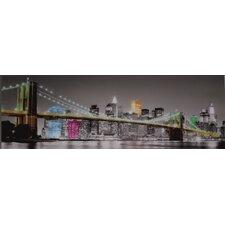 Glasbild NY Brücke Skyline - 33 x 95 cm