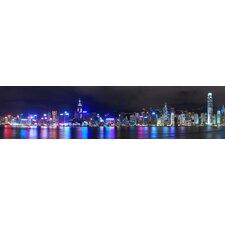 Glasbild Hongkong at Night Typografische Kunst