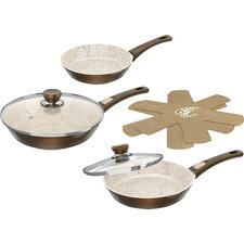 7-Piece Cerafit Granit Non-Stick Induction Suitable Frying Pan Set with Lid