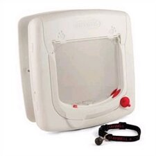 Magnetic White Four-Way Lock Cat Flap
