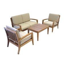Teak 4 Piece Deep Seating Group with Cushion