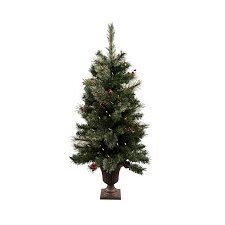 3.5' Green Artificial Christmas Tree with Lights and Urn Stand