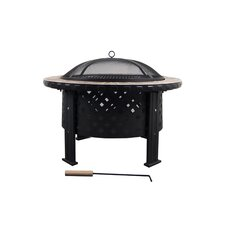 Stainless Steel Black & Brass Fire Pit