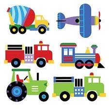 2-tlg. Wandsticker-Set Planes and Trains