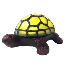 """Stained Glass LED Wireless Turtle Accent 2.5"""" H Table Lamp with Novelty Shade"""