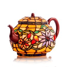 """Stained Glass Tiffany Style Teapot 7"""" H Table Lamp"""