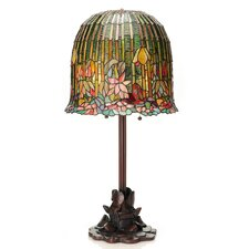 """Pond Lily Tiffany Style Stained Glass 29"""" H Table Lamp"""