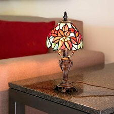 """Poinsettia Tiffany Style Stained Glass 12.5"""" H Table Lamp"""