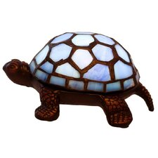 "Stained Glass LED Wireless Turtle 2.5"" H Table Lamp with Novelty Shade"
