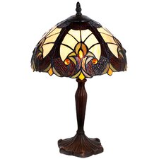 "Halston Tiffany Style Stained Glass 16"" H Table Lamp"