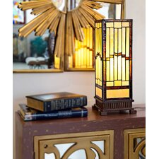 """17"""" H Tiffany Style Stained Glass Rustic Hurricane Lamp"""