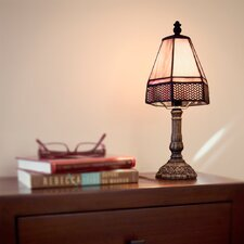 """Lattice Tiffany Style Stained Glass Mini 12"""" H Table Lamp"""