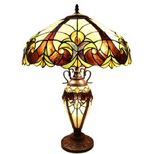 "Halston Double Lit Tiffany Style Stained Glass 24.5"" H Table Lamp"