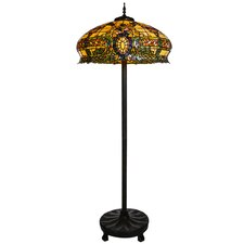 """Carnegie's Conservatory Tiffany Style Stained Glass  66"""" H Floor Lamp"""