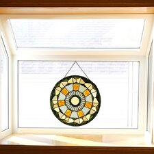 Golden Leaves Tiffany Style Stained Glass Window Panel