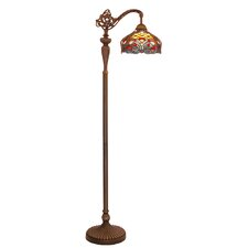 """Tiffany Style Stained Glass Harvest 59"""" Arched Floor Lamp"""