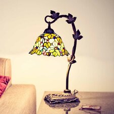 """Floral Leaf Tiffany Style Stained Glass  23"""" H Table Lamp"""