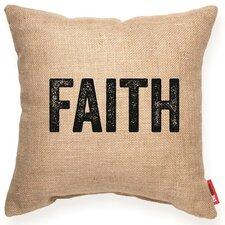 "Expressive ""Faith"" Decorative Burlap Throw Pillow"