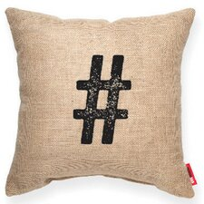 "Symbol ""#"" Decorative Burlap Throw Pillow"