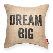 "Expressive ""Dream Big"" Decorative Burlap Throw Pillow"