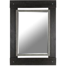 """Real Wood 30"""" x 43"""" Beveled Mirror with Black and Grey Wash"""