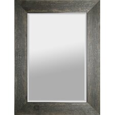 """Hand Stained 34"""" x 46"""" Wood Beveled Mirror - Black"""