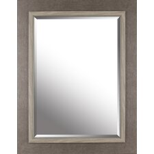 """27.25"""" x 35.25"""" Frame With Liner Beveled Mirror- Grey Wash"""