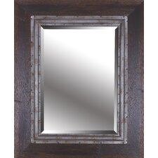 Brown Industrial I Hand Stained Wood Frame with Metal Beveled Mirror
