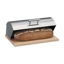 Brotkasten aus Edelstahl mit Gummibaumholz-Boden