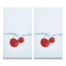 2-tlg. Herdabdeck-/ Schneideplatten-Set Tomato Splash