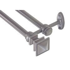 Decorative Arts and Crafts Double Curtain Rod and Hardware Set