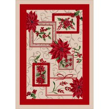Winter Seasonal Holiday Winter Bouquet Red/ Beige Area Rug