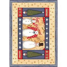Winter Seasonal Holiday Frosty and Family Beige Area Rug