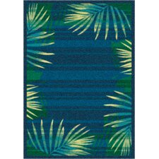 Modern Times Palm Blue Grey Area Rug