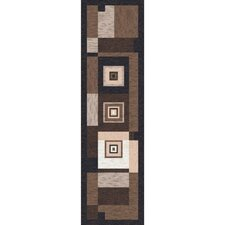 Pastiche Bloques Brown Leather Contemporary Runner