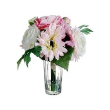 Gerbera Daisy & Ranunculus in Glass Vase