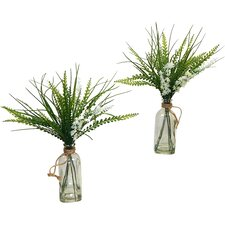 Faux Wildflower and Grass Desk Top Plant in Decorative Vase (Set of 2)