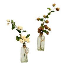 Faux Hop Flowers Floral Arrangement in Glass Jars (Set of 2)
