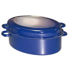Gänsebräter oval Kobaltblau aus Email