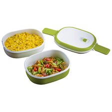 Double Stacked Rectangular Microwavable Lunch Bowl