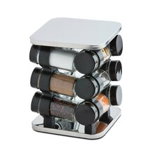 12 Piece Stainless Steel Carousel Spice Rack Set