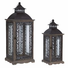 2 Piece Wooden/Metal Outdoor Lantern Set