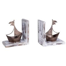 Piece Metal and Wooden Ship Bookend (Set of 2)