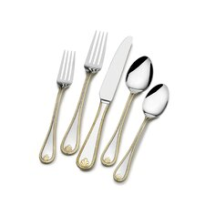 65 Piece Gold Accent Kings Bead Flatware Set