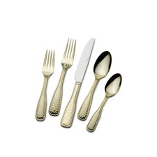 Gold Plated Country Hammered Flatware 45-piece Set