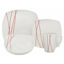 Lines Square Porcelain 16 Piece Place Setting