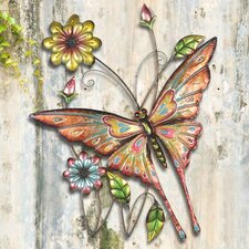 Butterfly and Flowers Outdoor Wall Decor