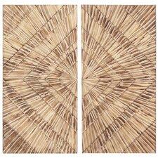 Natural Wood Textured Wall Art - Set of 2