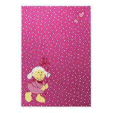 Handgewebter Teppich in Rosa